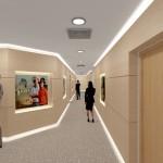Vista do corredor. Detalhe da iluminação que percorrerá o rodapé e rodateto. Áreas específicas para instalação de painéis informativos iluminados