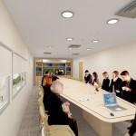 Vista da nova sala de reuniões. Mesa que viabilizará o acesso a elétrica, dados e voz no tampo da mesa