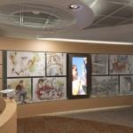 Um painel com desenhos produzidos pelo artista plástico Marco Angeli marcam as áreas de atuação da empresa. Uma TV passará um vídeo corporativo, que informará ao visitante das áreas de atuação da companhia no Brasil e no mundo