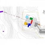 Implantação orientada pelo eixo do projeto do acesso principal, buscando as ruínas do Convento São Boa Ventura