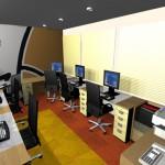 Maquete com vista geral do Staff e área de serviço com impressora e fax