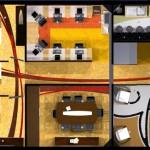 Com uma área de 100m2, o escritório possui uma recepção, sala de reuniões, área de staff para 7 usuários, arquivo, financeiro, diretoria e uma área de serviço e sanitários