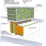 Croqui da fachada que dará vista para o Mar e permitirá acesso de pedestres