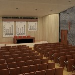 Vista para o palco do Auditório