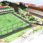 Vista aérea da quadra de futebol de campo