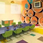 Vista de brinquedoteca. Detalhe do mobiliário com as dimensões para atender as necessidades de crianças até 4 anos