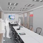 Vista da sala de treinamentos com a divisória retrátil aberta
