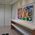 Vista da Copa. Detalhe do quadro instalado na Copa fazendo referência a unidade de negócios da Bayer na área Agrícola