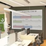 Vista da entrada do Departamento. Detalhe do painel de projetos em andamento.